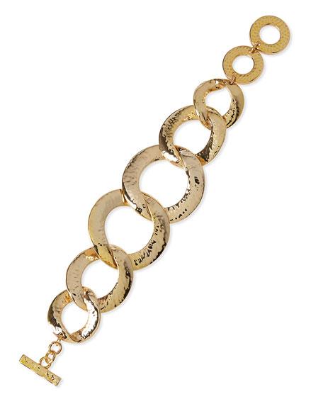 Hammered Gold-Plated Link Bracelet