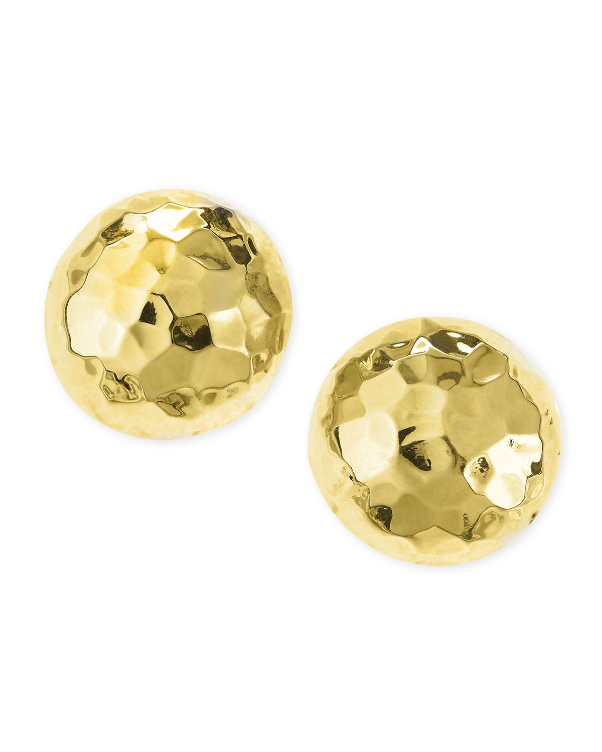 Post Hammered Gold Plated Half Ball Stud Earrings