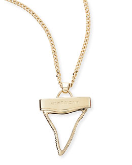 Givenchy Golden Shark Tooth Necklace, White, 36""
