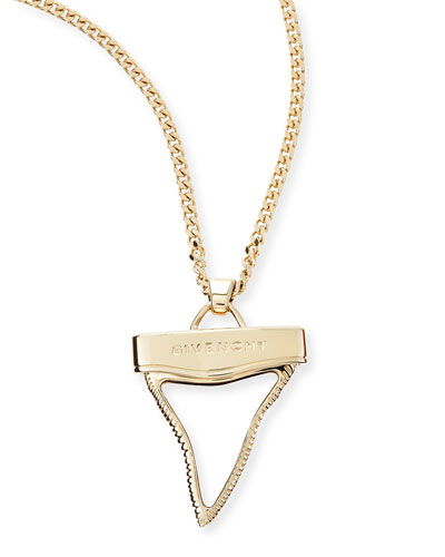 Golden Shark Tooth Necklace, White, 36