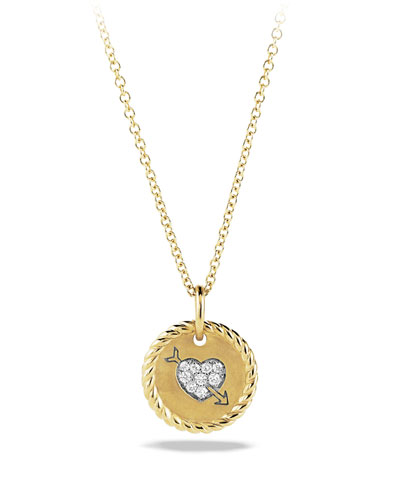 David Yurman Cable Collectibles Heart Charm with Diamonds in Gold