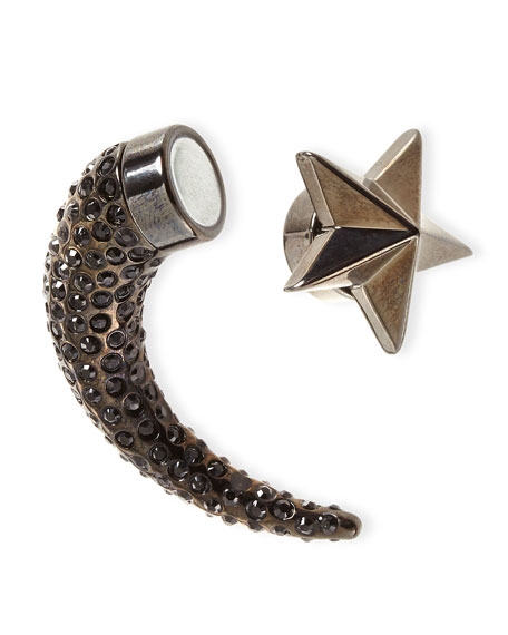 Single Small Star Pave Crystal Shark-Tooth Earring