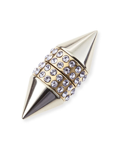 Givenchy Single Small Double Cone Magnetic Shark Earring with Lavender Crystals
