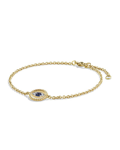 David Yurman Pavé Cable Evil Eye Charm with Blue Sapphire, Diamonds and Black Diamonds in Gold