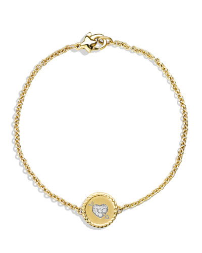 David Yurman Cable Pave Heart Charm Bracelet with Diamonds in Gold