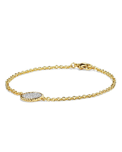David Yurman Cable Pavé Charm Bracelet with Diamonds in Gold