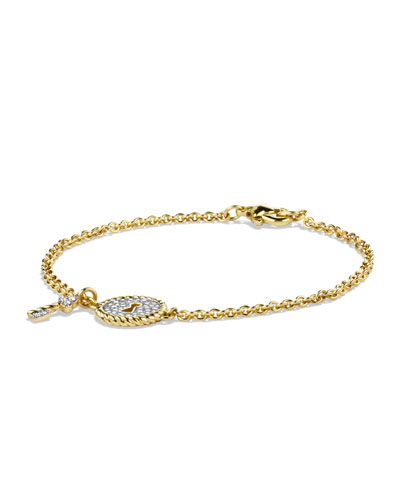 David Yurman Cable Pavé Lock & Key Charm Bracelet with Diamonds in Gold