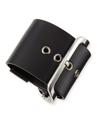 Givenchy Buckled Leather Cuff, Black