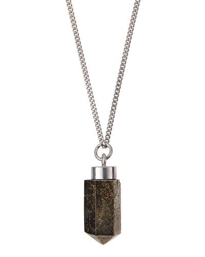 Givenchy Silvertone Pyrite Pendant Necklace