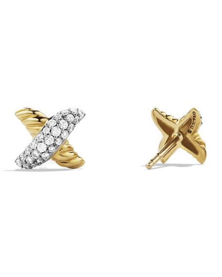 Petite X Earrings with Diamonds in Gold