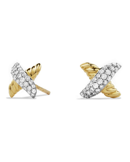 Petite X Earrings with Diamonds in Gold