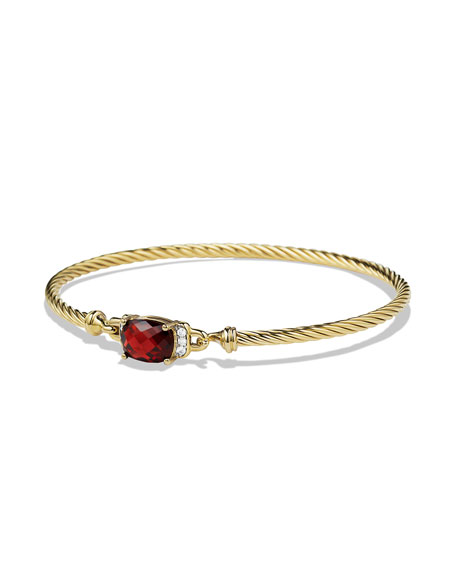 David Yurman Petite Wheaton Bracelet with Garnet and