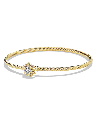 David Yurman Starburst Single-Station Cable Bracelet with Diamonds in Gold
