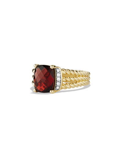 David Yurman Petite Wheaton Ring with Garnet and Diamonds in Gold