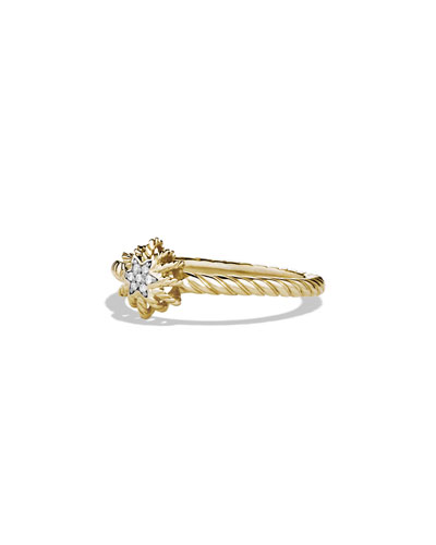 David Yurman Small Starburst Ring with Diamond in Gold