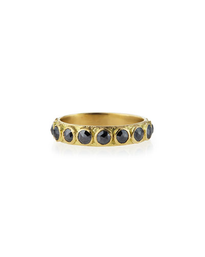 3mm Rose-Cut Black Diamond Stackable Band Ring