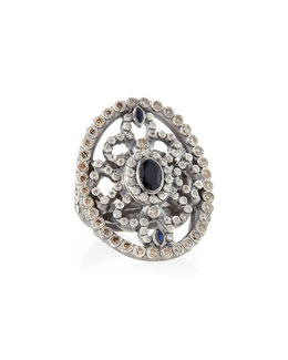 Armenta New World Shield Ring with Diamonds & Sapphires
