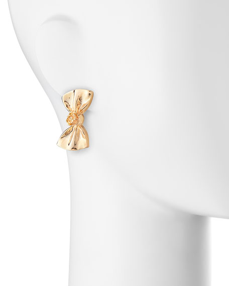 Large Bow Earrings, Rose Gold-Plate