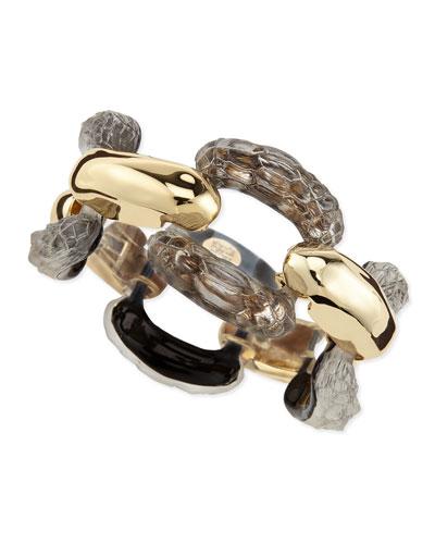 Alexis Bittar Croc-Embossed Lucite Link Bracelet