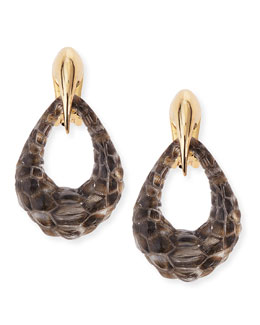 Alexis Bittar Claw-Capped Crocodile-Embossed Lucite Earrings