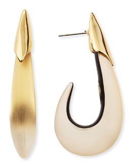 Alexis Bittar Liquid Lucite Metal Shark-Hook Post Earrings
