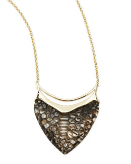 Alexis Bittar Liquid Crocodile-Embossed Dagger Pendant Necklace
