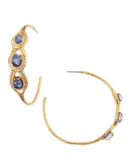 Alexis Bittar Aigrette Hoop Earrings with Sodalite