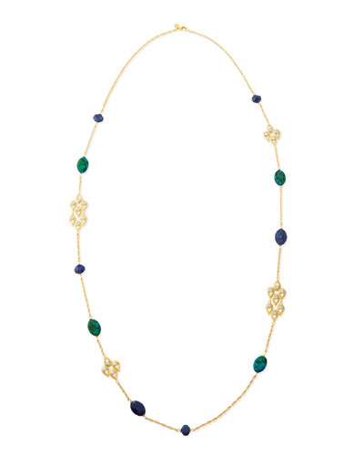 Alexis Bittar Chrysocolla, Crystal & Lapis Station Necklace