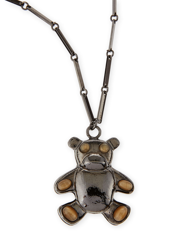 Bear Pendant Necklace, Gunmetal