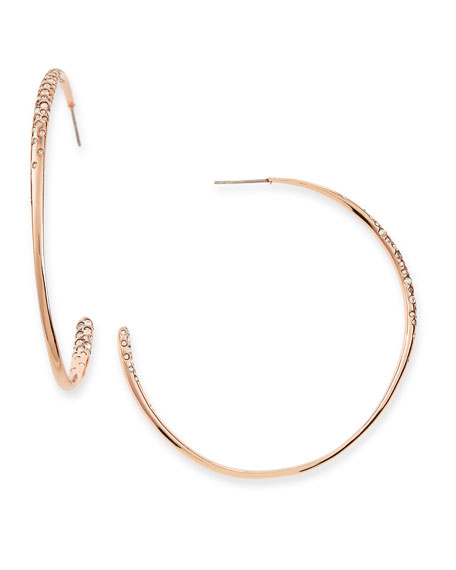 Rose Golden Crystal-Encrusted Hoop Earrings