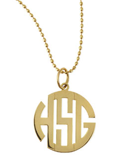 Kacey K Polished Gold Gothic Font Monogram Charm