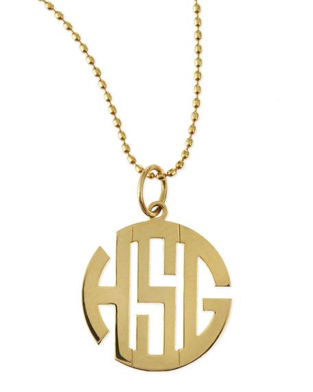 Polished Gold Gothic Font Monogram Charm