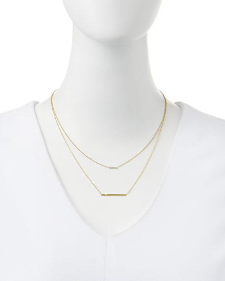 14k Gold Layered Bar Necklace with Diamonds