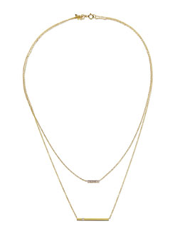 Kacey K 14k Gold Layered Bar Necklace with Diamonds