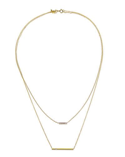 Kacey K 14k Gold Layered Bar Necklace with Diamonds