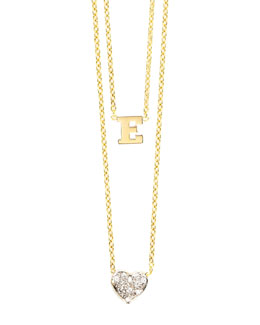 Kacey K 14k Polished Initial & Diamond Heart Charm Necklace