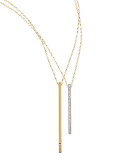 Kacey K 14k Green Gold Diamond Bar Necklace