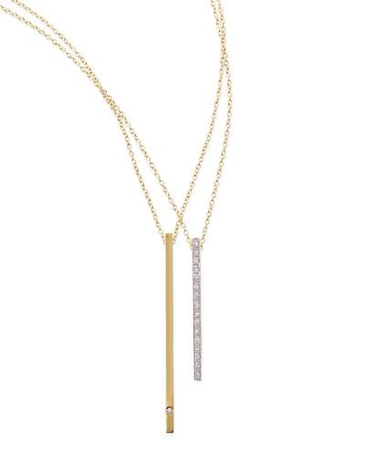 Kacey K 14k Green Gold Diamond Bar Necklace
