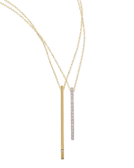 14k Green Gold Diamond Bar Necklace