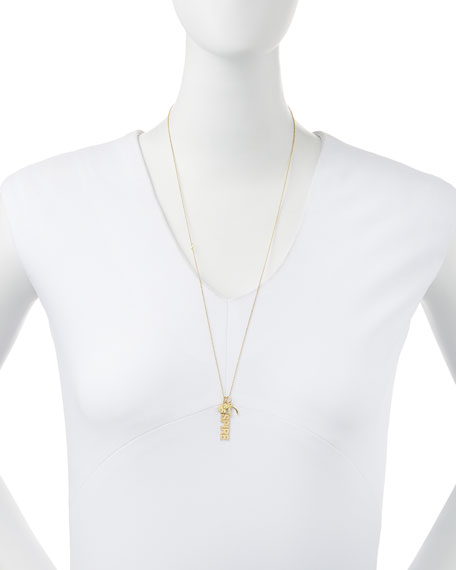 14k Inspire Charm Necklace with Diamonds