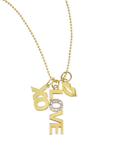 14k Love Charm Necklace with Diamonds