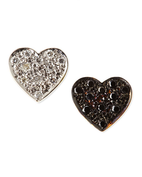 Black & White Diamond Mini Heart Stud Earrings