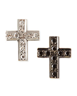 Kacey K Black & White Diamond Cross Stud Earrings