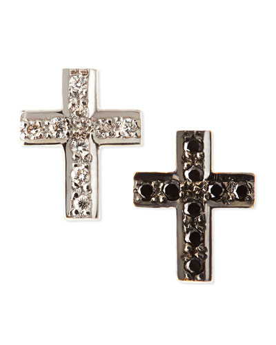 Black & White Diamond Cross Stud Earrings