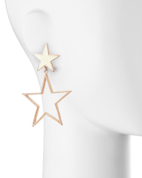Double-Star Earrings, Rose Gold Plate