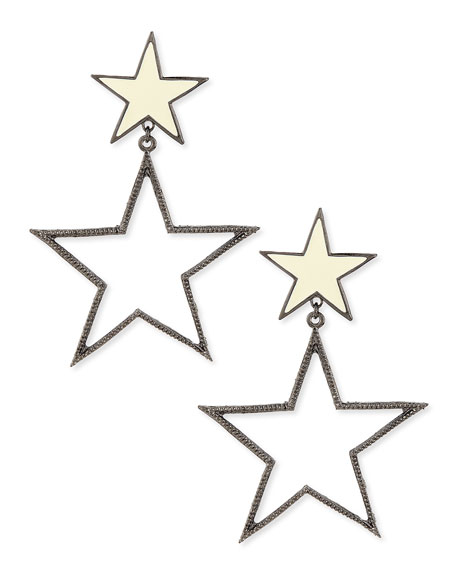 Double-Star Earrings, Gunmetal-Plate