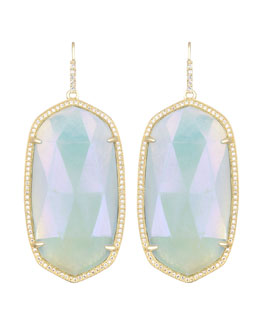 Kendra Scott Luxe Large Pave-Trim Iridescent Amazonite Drop Earrings