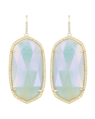 Kendra Scott Large Pave-Trim Iridescent Amazonite Drop Earrings