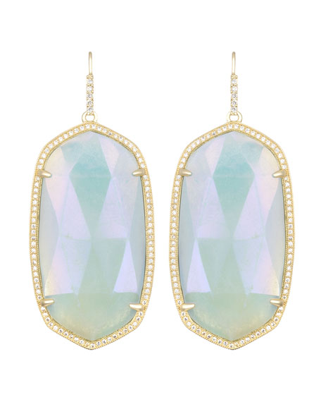 Large Pave-Trim Iridescent Amazonite Drop Earrings