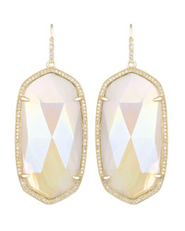 Kendra Scott Luxe Large Pave-Trim Iridescent Agate Drop Earrings